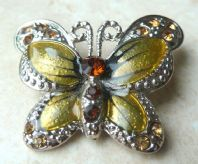 Enamel And Rhinestone Butterfly Brooch